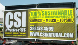 Photo of CSI Natural Compost, Mulch & TopSoil Banner on Delivery Truck